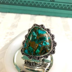 Copper Turquoise Bali style large Ring